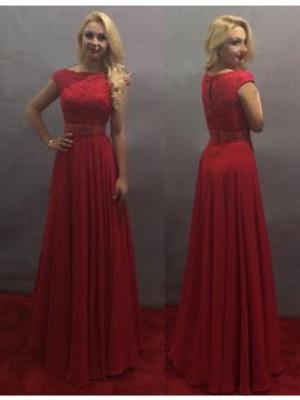 A-line Bateau Floor-length Red Cap Sleeves Prom Dress with Lace