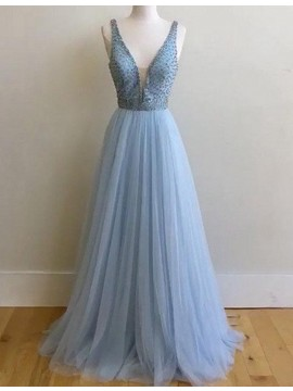 A-line V-neck Sweep Train Blue Prom Dress with Beading