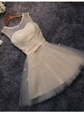 A-line Scoop Above-knee Champagne Prom Dress with Appliques Pearls
