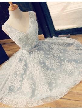 A-line V-neck Above-knee Blue Lace Prom Dress with Belt