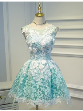 A-line Scoop Short Blue Prom Dress with Beading Flower Sequins