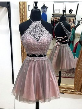 Two Piece Halter Above-knee Blush Prom Dress with Beading Lace