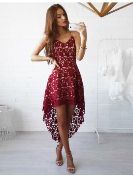 A-line Spaghetti Straps Hi-Lo Burgundy Homecoming Dress with Lace