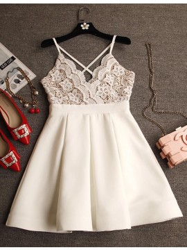 A-Line V-Neck Criss-Cross Straps Short White Homecoming Dress with Lace