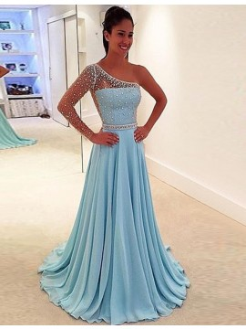 A-line One Shoulder Sweep Train Blue Prom Dress with Beading