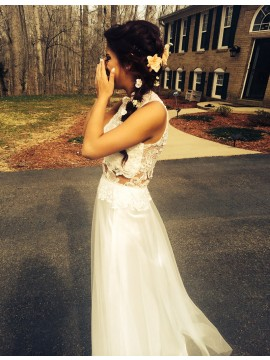 A-line Jewel Floor-length White Tulle Prom Dress with Appliques