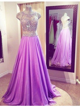 A-line Bateau Sweep Train Sleeveless Fuchsia Prom Dress with Beading