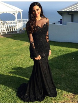 Mermaid Illusion Neck Long Sleeves Beaded Black Prom Dress with Appliques