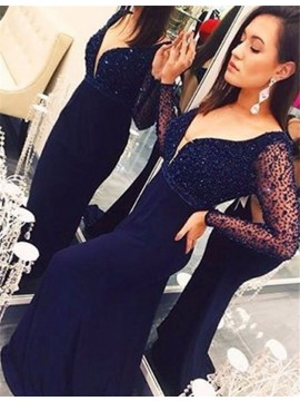 Nice V Neck Long Sleeves Sweep Train Dark Blue Prom Dress with Beading