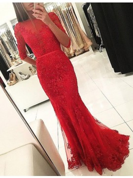 Mermaid Half Sleeves Beaded Red Decent Prom Dress with Sash Lace