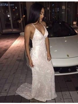 Sheath Sexy V Neck Sleeveless Backless White Sequined Prom Dress