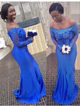 Mermaid Off Shoulder Long Sleeves Royal Blue Beaded Prom Dress with Lace