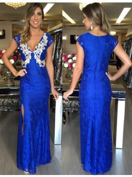 Elegant V Neck Cap Sleeves Long Mermaid Royal Blue Prom Dress with Appliques