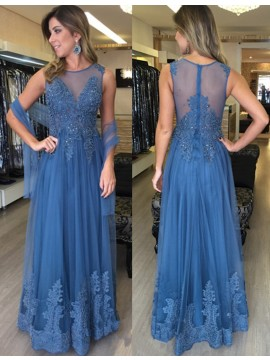 Stunning Jewel Floor Length Blue Prom Dress with Beading Appliques Illusion Back