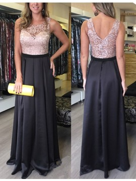 Nice Crew Neck Sleeveless Floor Length Dark Navy Pleated Prom Dress with Lace