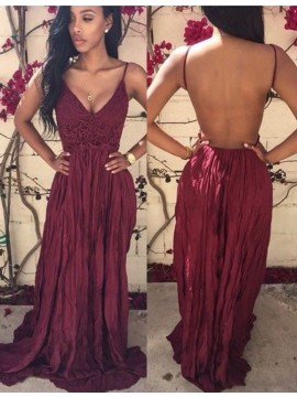 A-Line V Neck Pleated Backless Burgundy Prom Dress with Lace