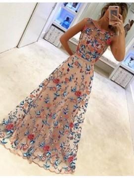 Gorgeous Bateau Sleeveless Floor Length Beige Prom Dress with Sash