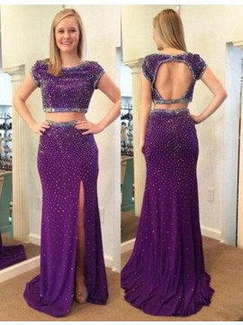 Adorable Two Piece Sheath Sweep Train Purple Prom Dress with Beading Split