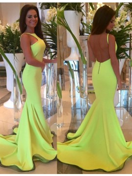 Nice Square Sleeveless Sweep Train Mermaid Daffodil Prom Dress Backless