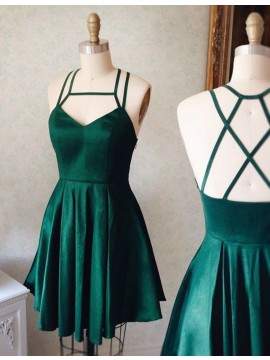 Short Pleated Dark Green Square Sleeveless Prom Homecoming Dress