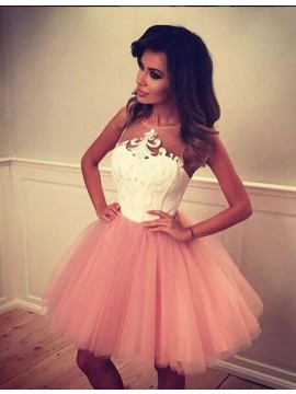 Short Pearl Pink Jewel Sleeveless Prom Homecoming Dress with Appliques