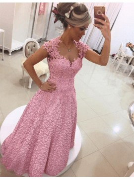A-Line Scoop Cap Sleeves Beaded Pink Prom Dress with Appliques