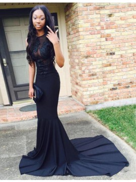 Dark Navy Mermaid Jewel Sweep Train Prom Dress with Lace Appliques