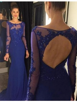 Royal Blue Mermaid Long Prom Dress with Appliques Beading Open Back