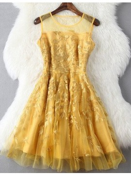 Short Gold Jewel Sleeveless Prom Homecoming Dress with Appliques