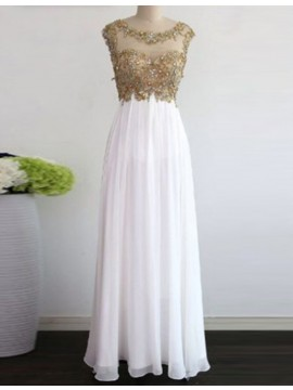 Long White Scoop Cap Sleeves Prom Dress with Beading Open Back