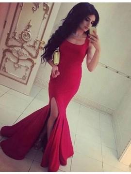 Long Mermaid Rose Pink Square Sleevelesss Prom Dress with Split