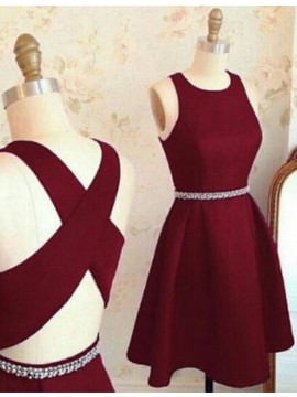 A-Line Jewel Sleeveless Burgundy Homecoming Dress with Beading