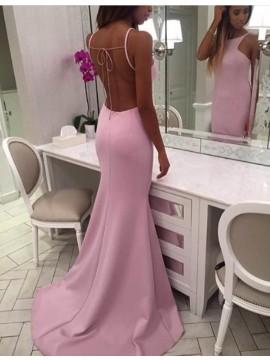 Mermaid Backless Pink Bateau Sleeveless Sweep Train Prom Dress