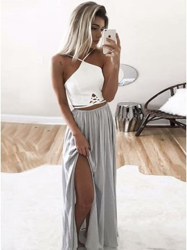 A-Line V-Neck Floor-Length Gray Chiffon Prom Dress with Pleats