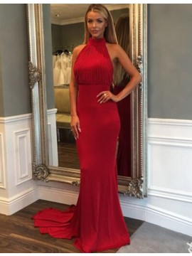Red Mermaid Halter Backless Sweep Train Prom Dress with Pleats