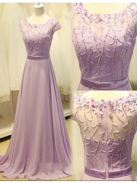 A-Line Scoop Cap Sleeves Beaded Lilac Prom Dress with Illusion