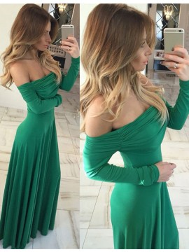 Green Off Shoulder Long Sleeves Floor Length Ruched Prom Dress