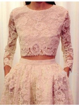 Two Piece Round 3/4 Sleeves White Lace Prom Dress with Pockets
