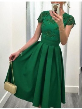 A-Line Cap Sleeves Short Beaded Green Prom Dress with Lace