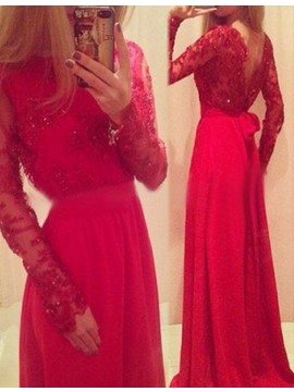 Backless Red Jewel Long Sleeves Prom Dress with Sash Lace Beading