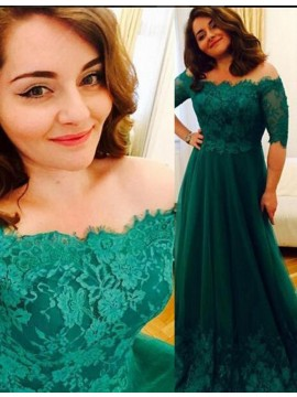 Long Green Off Shoulder Half Sleeves Prom Dress with Lace