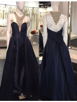 Navy Blue Halter Sleeveless Long Prom Dress with Beading