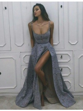 A-Line Scoop Slit Legs Lavender Sexy Long Lace Prom Dress