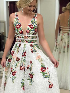 A-Line Deep V-Neck Backless White Prom Dress with Appliques