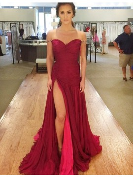 Sheath Off-the-Shoulder Ruched Burgundy Chiffon Prom Dress with Split