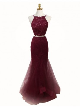Two Piece Mermaid Round Neck Burgundy Tulle Prom Dress with Lace Beading