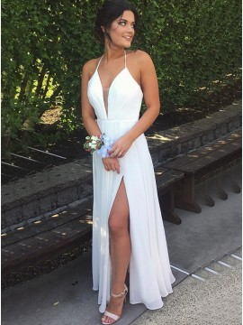 A-line Halter Floor Length Slit Legs White Backless Prom Dress