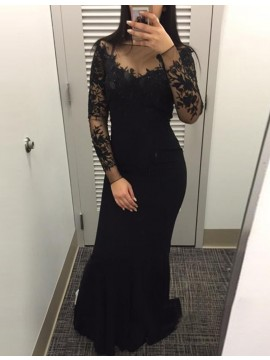 Black Sheath Long Sleeves Bateau Sweep Train Prom Dress with Lace