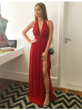 Red Floor-length Halter Sleeveless Split Prom Dress with Pleats