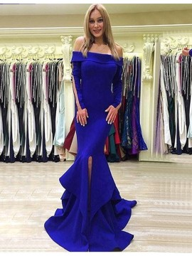 Mermaid Royal Blue Off-the-Shoulder Long Sleeves Tiered Prom Dress with Split